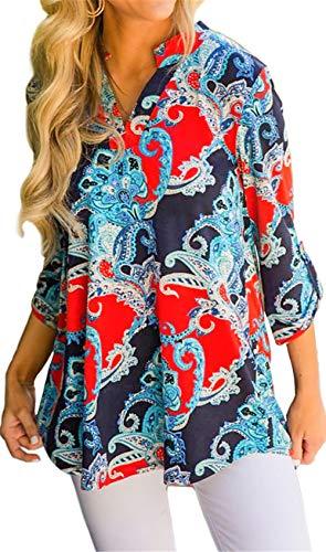 Damen Freizeit Lange Ärmel V-Ausschnitt Blumen Bluse Elegante Frauen Tunika Oberteile Vintage Hemd T-Shirt (Rot & Blau, S/EU 36-38) -