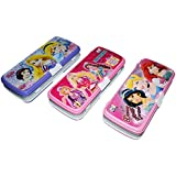 Ski Homeware Disney Barbie Branded 3 Way Compartment Pencil Box With 5 Free Items, Style And Color May Vary
