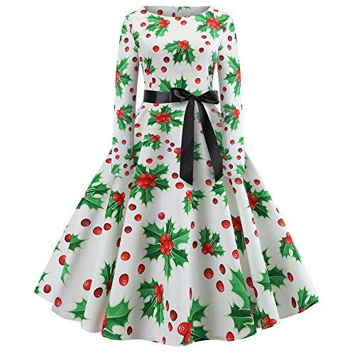 Weihnachtskleid Damen Vintage Abendkleider Weihnachten Gedruck Langarm O-Ausschnitt Ballkleid Weihnachts Faltenrock Partykleid Swing Kleid Lang Kleider