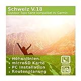 Schweiz V.18 - Profi Outdoor Topo Karte - Topografische Europakarte kompatibel zu Garmin Navigation - Zum Wandern, Geocachen, Bergsteigen, Radfahren, Radtour