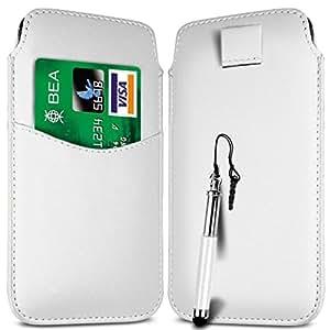N4U ONLINE - Samsung Galaxy Alpha Card Slot Premium-PU-Leder Flip Pull Tab Hülle Tasche & versenkbaren Stift - Weiß