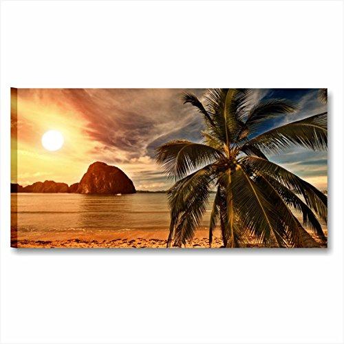 Karo L & C Italien–Tropical Palms–Modernes Bild 90x 45cm Druck auf Leinwand für Schlafzimmer Wohnzimmer Bilder Möbel Haus Büro SPA Wellness ästhetische Meer Sonne Plame Insel Strand Natur Landschaft Sonnenaufgang Karibik Entspannende - Insel Bambus-rahmen