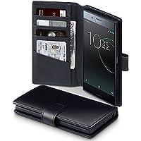 Xperia XZ Premium Case, Terrapin [ECHT LEDER] Brieftasche Case Hülle mit Standfunktion Kartenfächer und Bargeld für Sony Xperia XZ Premium Hülle Schwarz