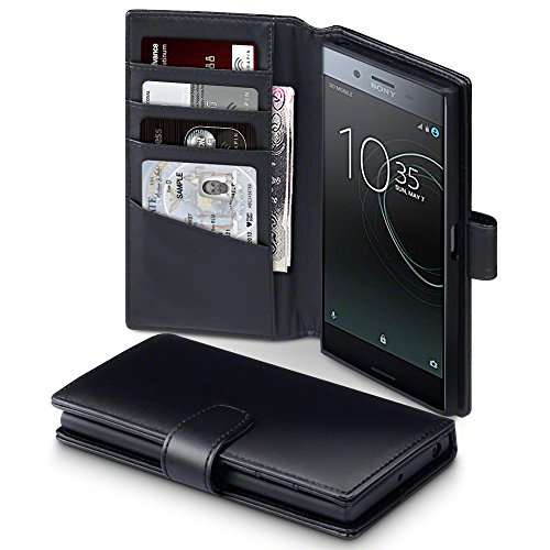Terrapin, Kompatibel mit Sony Xperia XZ Premium Hülle, [ECHT LEDER] Brieftasche Case Tasche mit Standfunktion Kartenfächer und Bargeld - Schwarz EINWEG