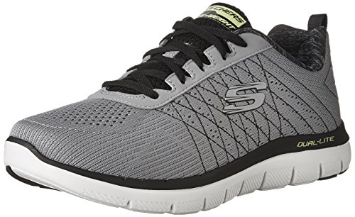 Herren-laufschuh-10 2e (Skechers Herren Flex Advantage 2.0-The Happs Laufschuhe, Grau (Light Grey/Black), 43 EU)