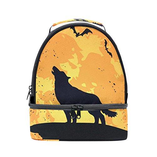 tizorax Halloween Hintergrund mit Wolf Lunch Bag Isolierte Lunch Box Picknick Tasche Schule Kühltasche für Männer Frauen Kinder