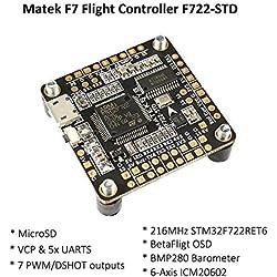 Matek F7 Controladora De Vuelo + Bateflight OSD + BEC 5V Flight Controller MicroSD card slot , VCP 5xUARTs , 7 PWM / DSHOT Outputs ) for FPV Racing RC Drone Quadcopter by LITEBEE