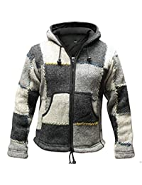 82895b749a4e Shopoholic Fashion superwarm Fest bunt Flicken Nepalesisch Wolle Jacke mit  Kapuze, Hippy Boho