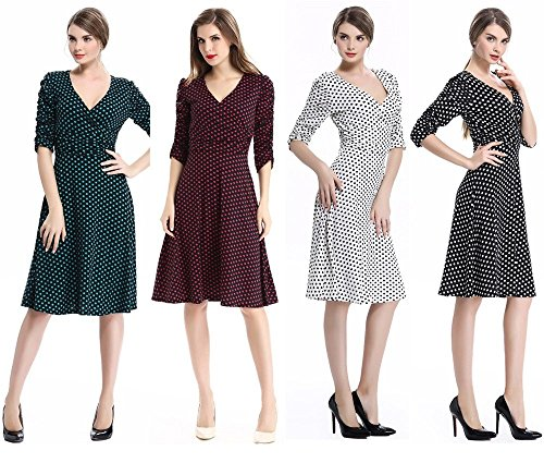 iHaipi - Robe Vintage 50 Années 1/2 Arm Casual Robe Petticoat Jupe Plissée Avec l'automne de Ceinture Femme (M (EU38/40), 02 Rouge Wine) 16 Blanc - points noirs