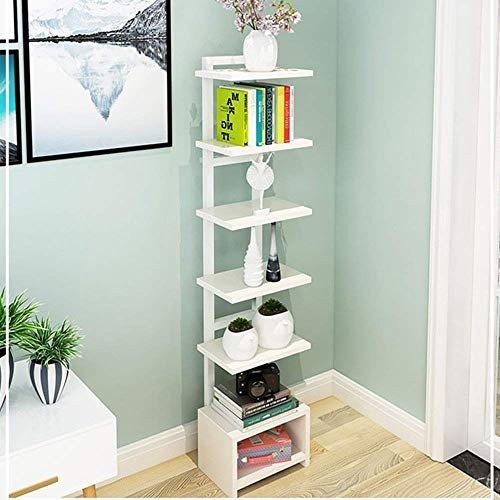 Bücherregal YNN Lagerregale Flower Stand Floor-Standing 7. Stock Divided Board Organizer Dekorrahmen Shoe Rack Storage Cabinet Corner Rack (Farbe : Weiß)