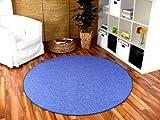 Feinschlingen Velour Teppich Strong Blau Rund in 7 Größen