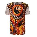 Kunst und Magie Sure Buntes 70er Retro T-Shirt Ying Yang im Crinkle Look, Größe:L, Farbe:Grau