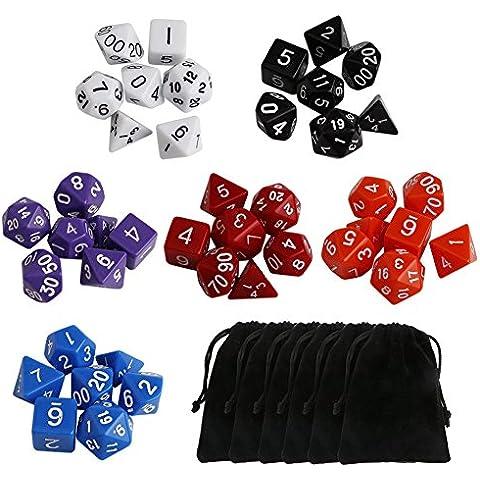 Ritchie 42 piezas de dados poliédricos, dados configurado con 6 bolsas negras, D & D