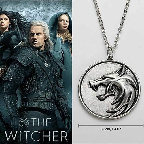 Witcher The Geralt Netflix Accessoires Tête de Loup Médaillon Pendentif Collier TV Netflix - Geralt