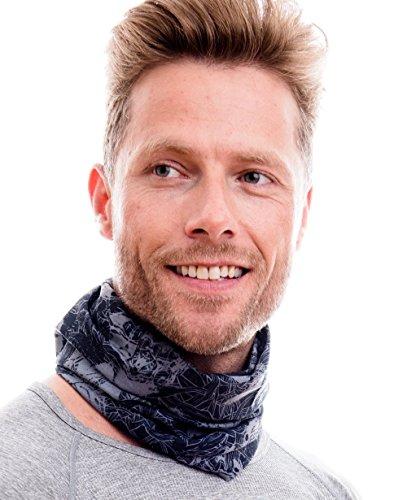 Hilltop Multifunktionstuch. Cooles und warmes Kopf- und Halstuch in modernen aktuellen Farben, Farbe/Design:Totenkopf schwarz weiss