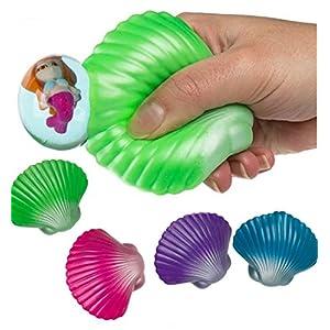CBK-MS Antistressball Squeeze Muschel mit Meerjungfrau Knautschball Büro Stress
