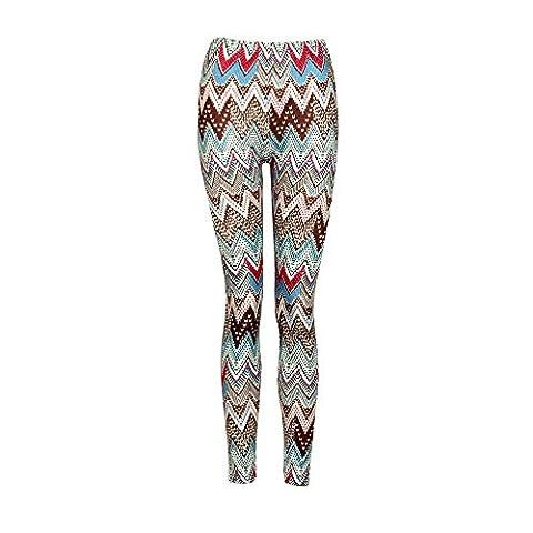 Xmas Casual Women Skinny Deer Imprimer Stretchy Pantalons Slim Leggings (Taille:S, Bande Café)
