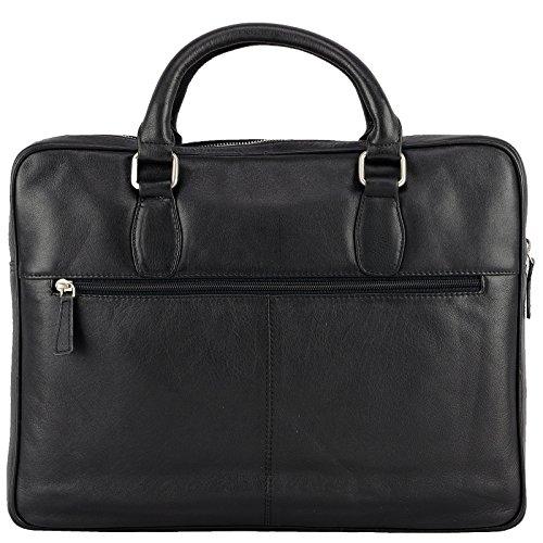 Echt Leder Messenger Bag Aktentasche Schultertasche Umhängetasche DIN-A4 Laptoptasche 15,6 Henkeltasche schwarz Schwarz