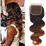 "16\ , 1b/4/30 : SHOWJARLLY 8A Ombre Brazilian Lace Closure Body Wave 16"" Virgin Remy Closure Free Part Cheap 3..."