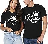 Paar T-Shirt 2er Set King Queen mit Aufdruck als Geschenk Valentinstag Partner T-Shirt Symbolische Liebe T-Shirt (King-M+Queen-M, Schwarz)
