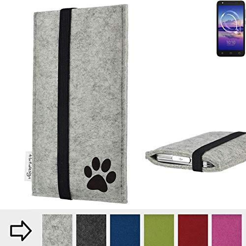 flat.design Handy Hülle Coimbra für Alcatel U5 HD Single SIM individualsierbare Handytasche Filz Tasche fair Hund Pfote tatze