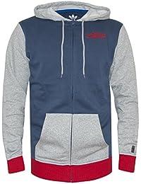 Adidas Originals Mens bleu, gris & rouge zippé à capuche