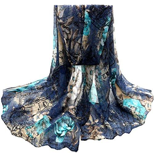 OverDose Damen Blume Voile Stola Schals langen Hals Wraps Schal Schal Winter Halstuch winterschal Schlauchschal,A-Blue (Blue-baby-häubchen)