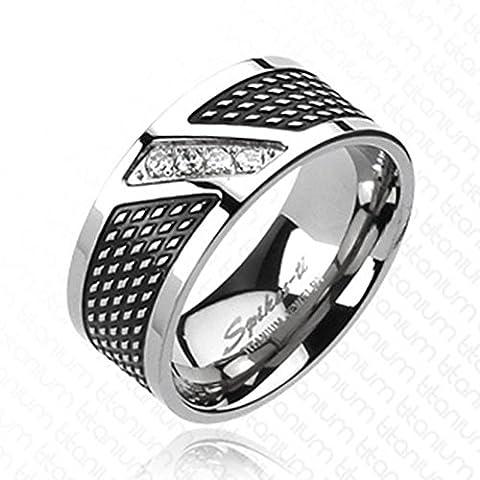 Paula & Fritz anello Titan argento 9 mm di larghezza 4 zirconi Modern Line disponibile anello misure 60 (19) (23) - 72