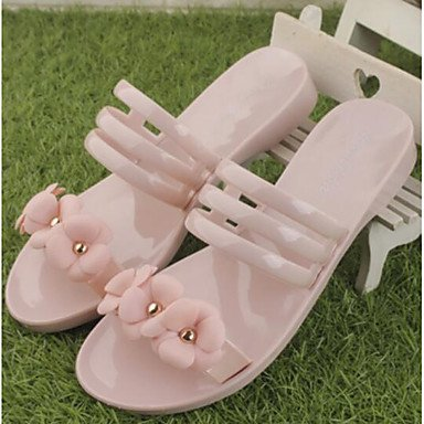 LQXZM La femme Slingback sandales talon plat occasionnel d'été en caoutchouc rouge rose noir 1en 1 3/4'' Blushing Pink