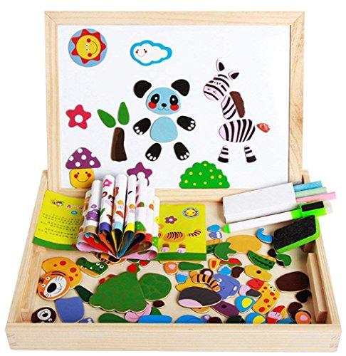 Puzzles en Bois Magnétiques avec Tableau Double-face Aimant Animal Jigsaw Puzzle Chevalet Planche à Dessin Noir Blanc Jeu Educatif Jouet Créatif Cadeau Pour Bambin Enfants Garçons Filles 3 4 5 6 Ans