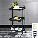 All Purpose Rolling Storage Cart Shelving, 3 Tier Serving Trolley, Metal Frame Storage Units, Sturdy Rolling Cart, Suitable for Kitchen, Home, Office, Bedroom ,Black