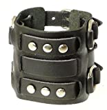 Wide Triple Strap Leather Cuff Wrap Gothic Wristband Bracelet With Buckle Fastening