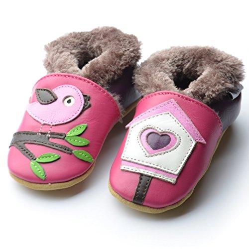 Bild von Jinwood designed by amsomo Jungen - Maedchen - Hausschuhe - Gefüttert - Echt Leder - Lederpuschen - Krabbelschuhe - Soft Sole/Mini Shoes Div. Groeßen