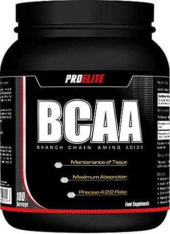 ProElite BCAA Powder 500g ( Branch Chain Amino Acids ) BCAAs (Unflavoured, 500g)