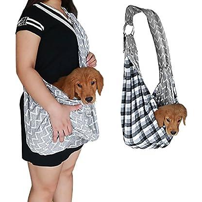 PENIVO Pet Dogs Sling Carrier Bag Grey Striped Soft Comfortable Hands-free Adjustable Shoulder Bag for Dog / Cat Bicycle… 9