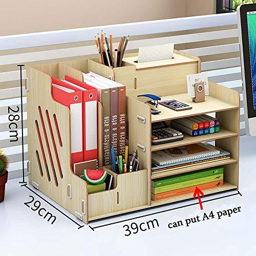 Ecent Organiseur Rangement de bureau Multi-fonctionnels en bois + boîte à serviettes + Porte-stylo Porte document Pour Bureau Maison Bibliothèque