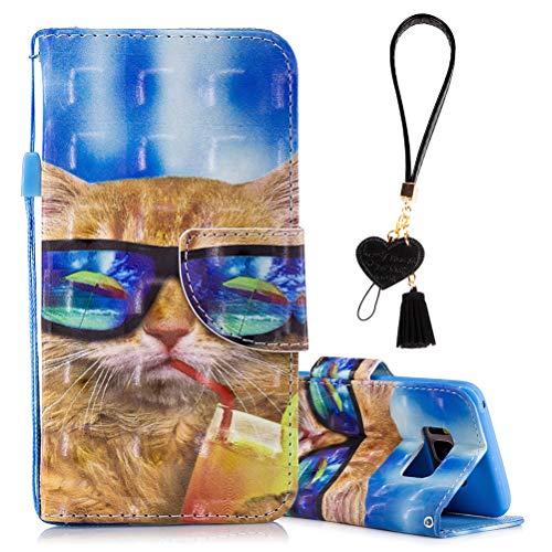 Edaroo Samsung A3 2017 Tasche Lustig Comic Karikatur Cartoon Sonnenbrille Katze Motiv PU Leder Brieftasche Schutzhülle Klappbar Magnetverschluss Kartenfächer Standfunktion für Samsung Galaxy A3 2017