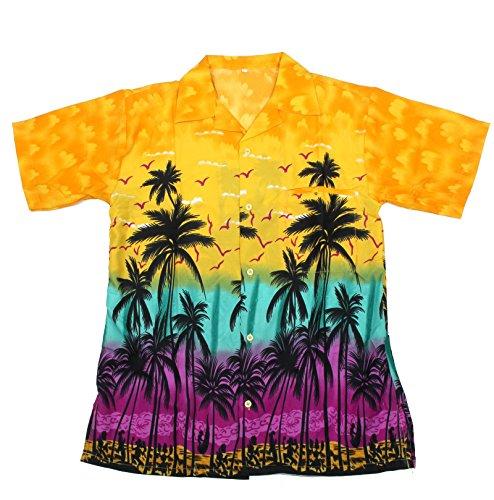 SAITARK-Camisa-casual-Floral-para-hombre-Multicolor-amarillo-X-Large