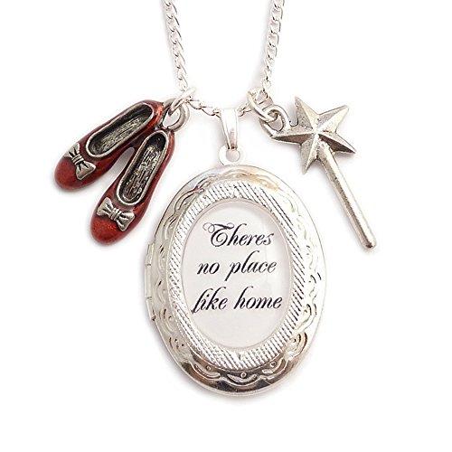 LunarraStar Damen Zauberer von Oz There's No Place Like Home Anhänger Medaillon Charm-Halskette aus Versilbert mit Oval Glas Zauberstab Ruby Hausschuhe
