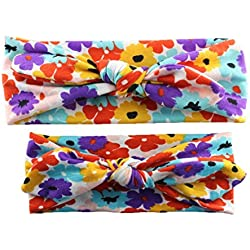 Bllomsem 1 Pair Mommy and Baby Girl Print Elastic Hair Band Headband A