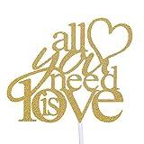 STOBOK 5pcs Tutto Il Che Necessario è Amore Torta Topper Decorazione Torta del Partito per Anniversario di Fidanzamento di Nozze