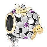 Pugster Butterfly Flower Purple Birthstone Crystal Charms Jewellery Sale Cheap Bead Fit Pandora Bracelet