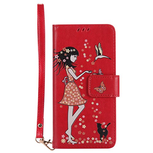Gelusuk LG K10 Hülle,Leuchtende Luminous Muster Design PU Leder Flip Card Holder Cover Ständer Wallet Case,Bookstyle Folio Ledertasche Brieftasche Tasche Case Schutzhülle Etui-Rot