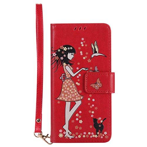 Gelusuk Sony Xperia Z5 Hülle,Leuchtende Luminous Muster Design PU Leder Flip Card Holder Cover Ständer Wallet Case,Bookstyle Folio Ledertasche Brieftasche Tasche Case Schutzhülle Etui-Rot