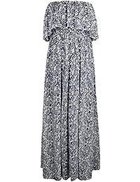 Robe Bohême Plage Femme Été Sexy Dos Nu Sans Bretelles Imprimée Robe Bustier de Soiée Longue Dresse Mode Lâche