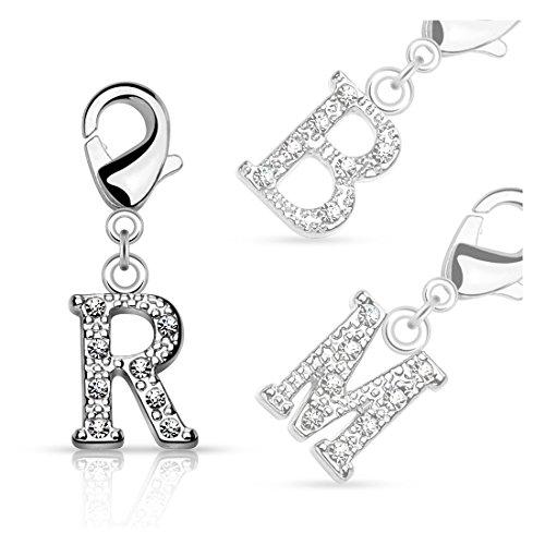 bungsa® lettere cristallo d' argento anello ciondolo per braccialetto orecchini collana con zirconi uomo e donna ciondolo per bambini (catena Pendant Beads a B C D E F G H I J K L M N O P R S T U V W Z), S
