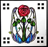 Statische Fensterfolie schmiegt sich an in eine Mackintosh Rose und Blätter Design