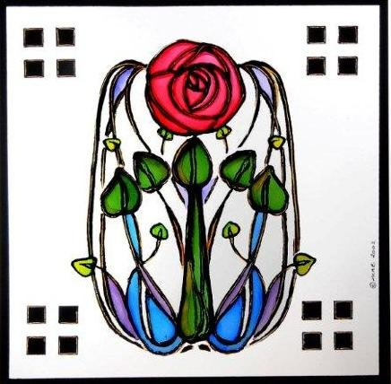 Static Window Clings in a Mackintosh Rose and Leaves Design -