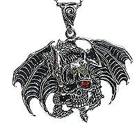 Epinki Stainless Steel Pendant Necklace, Mens Vintage Punk Rock Silver Black Skull Devil Necklace