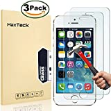 "[3 Pack] iPhone 5 5s SE Screen Protector, MaxTeck 0.26mm 9H Tempered Glass Shatterproof Screen Protector Anti-Shatter Film for iPhone 5 5S 5C SE 4"" inch"